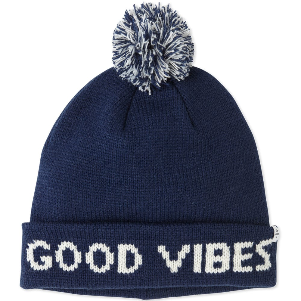 LIFE IS GOOD Women's Winter Pom Beanie - DARKEST BLUE