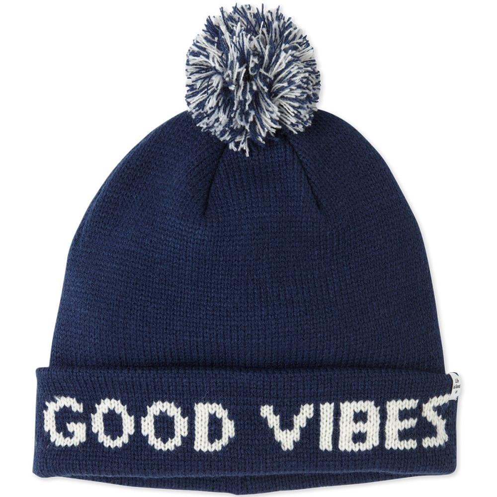 LIFE IS GOOD Women's Winter Pom Beanie - DARKEST BLUE