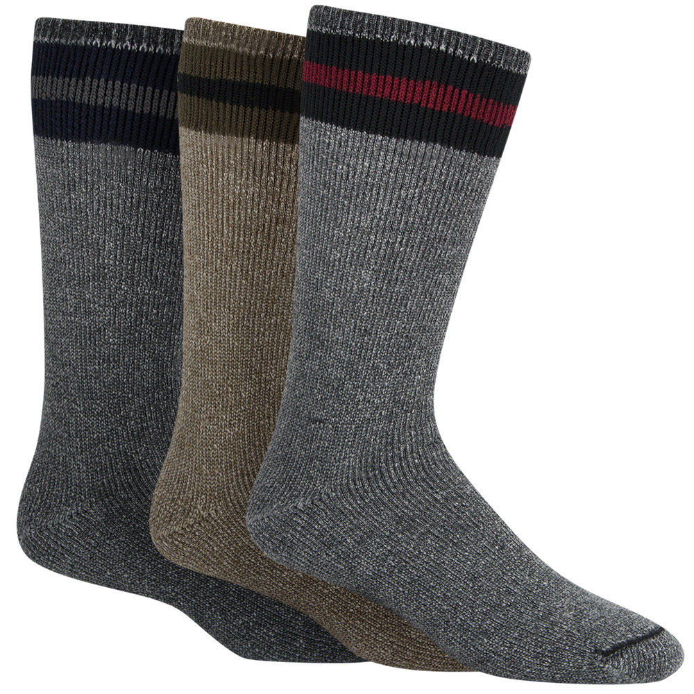 WIGWAM Men's American Wool Boot Socks, 3 Pack - BLACK ASST. 001