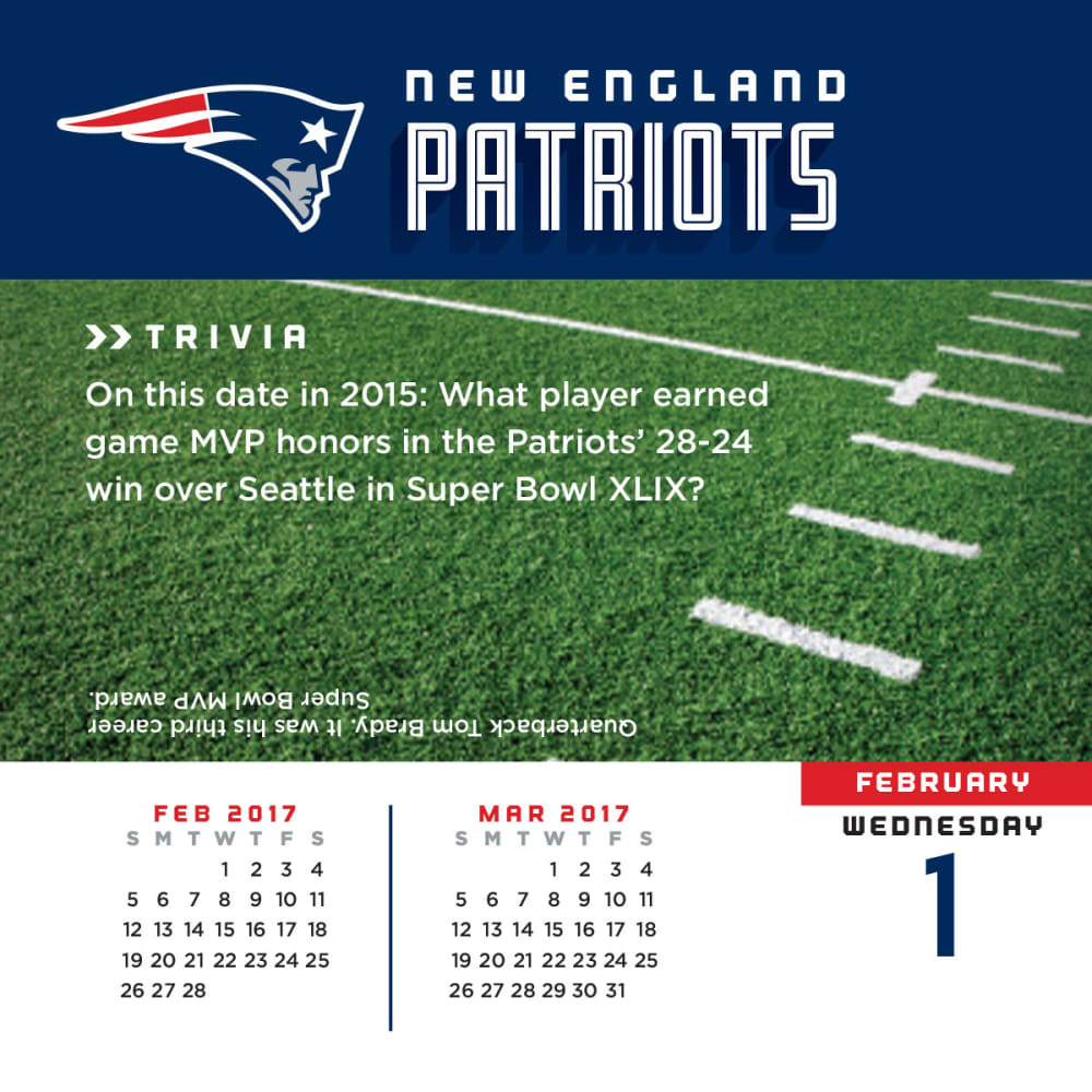 NEW ENGLAND PATRIOTS 2017 Daily Box Calendar - ASSORTED