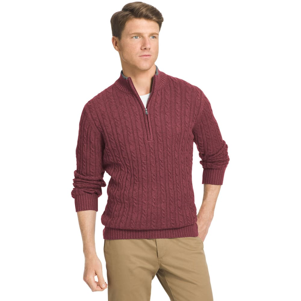 IZOD Men's Durham Cable Knit Sweater - 604-SYRAH HTR