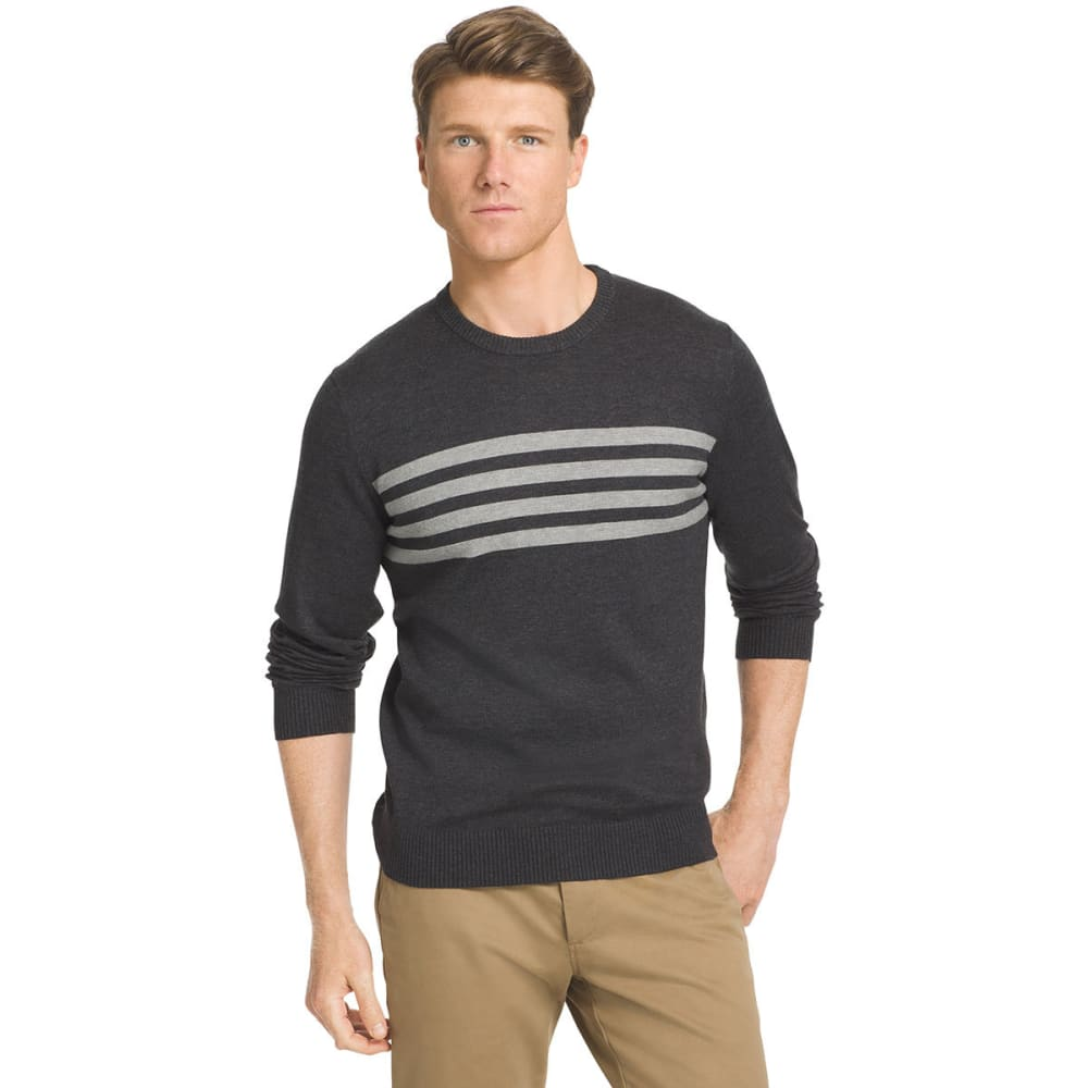 IZOD Men's Campus Crew Chest Stripe Sweater - 012-BLK HTR