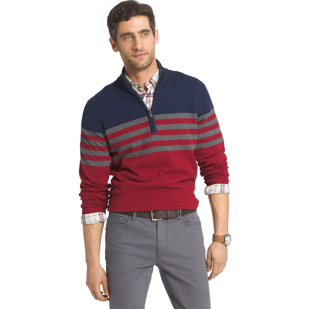 IZOD Men's Fine Gauge ¼-Zip Chest Stripe Sweater - 403-PEACOAT