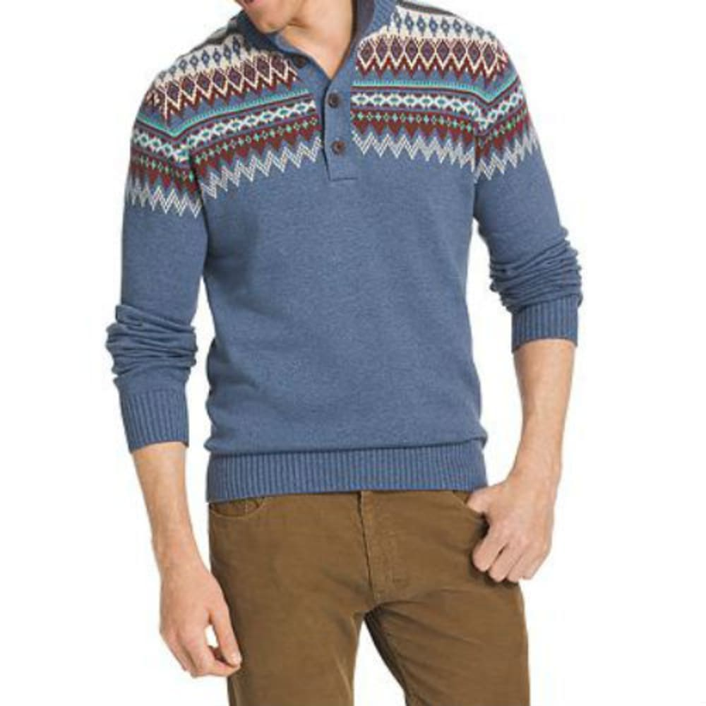 IZOD Men's Marled Fairisle Mockneck Sweater - 484-ANCHOR