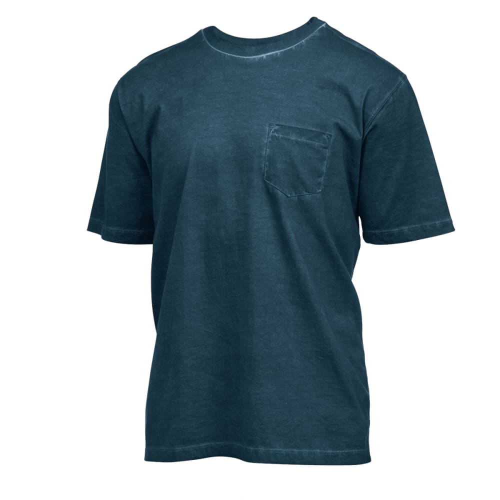RUGGED TRAILS Men's Oil Wash Crewneck Tee - INK BLUE