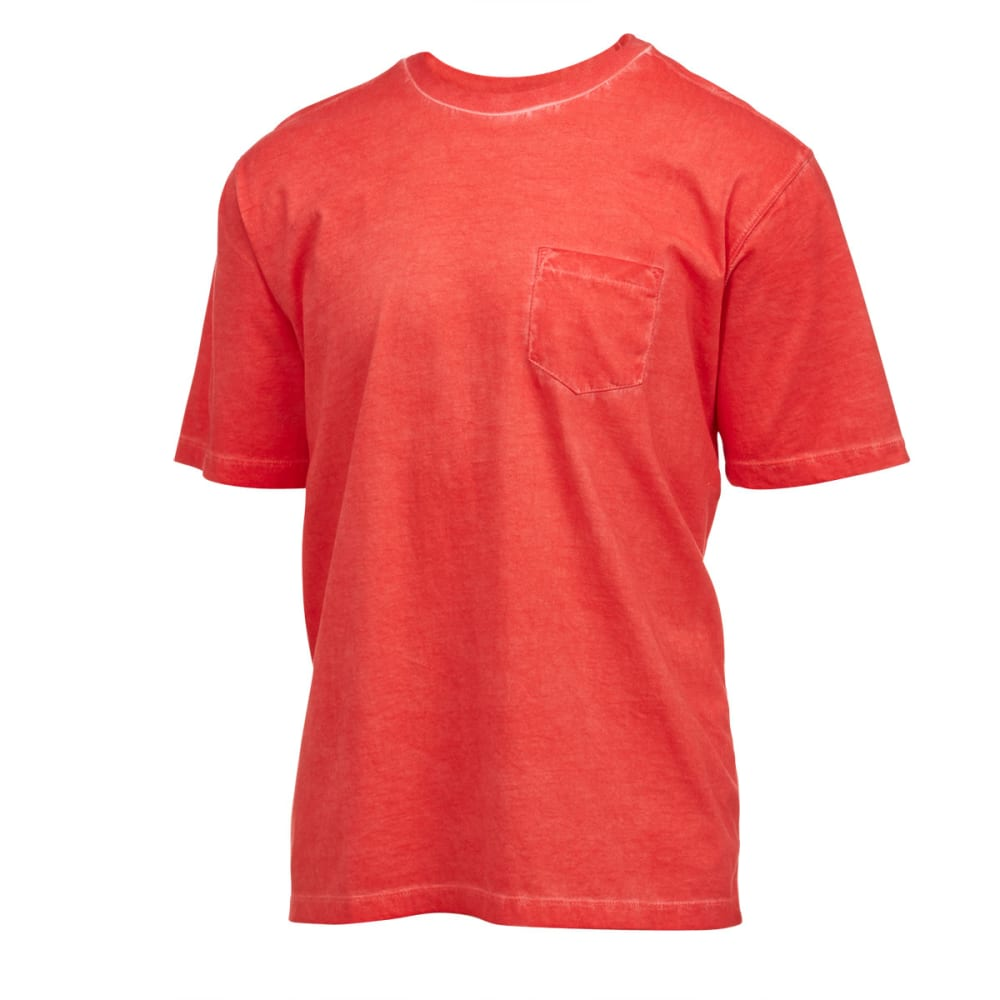 RUGGED TRAILS Men's Oil Wash Crewneck Tee - FORMULA RED