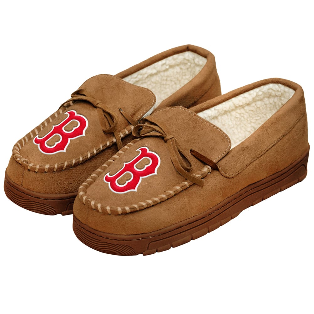 BOSTON RED SOX Men's Moccasin Slippers - BEIGE