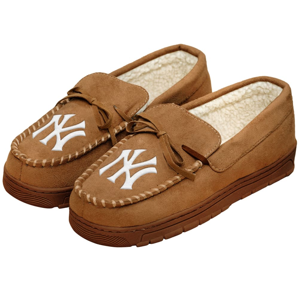 NEW YORK YANKEES Men's Moccasin Slippers - BEIGE