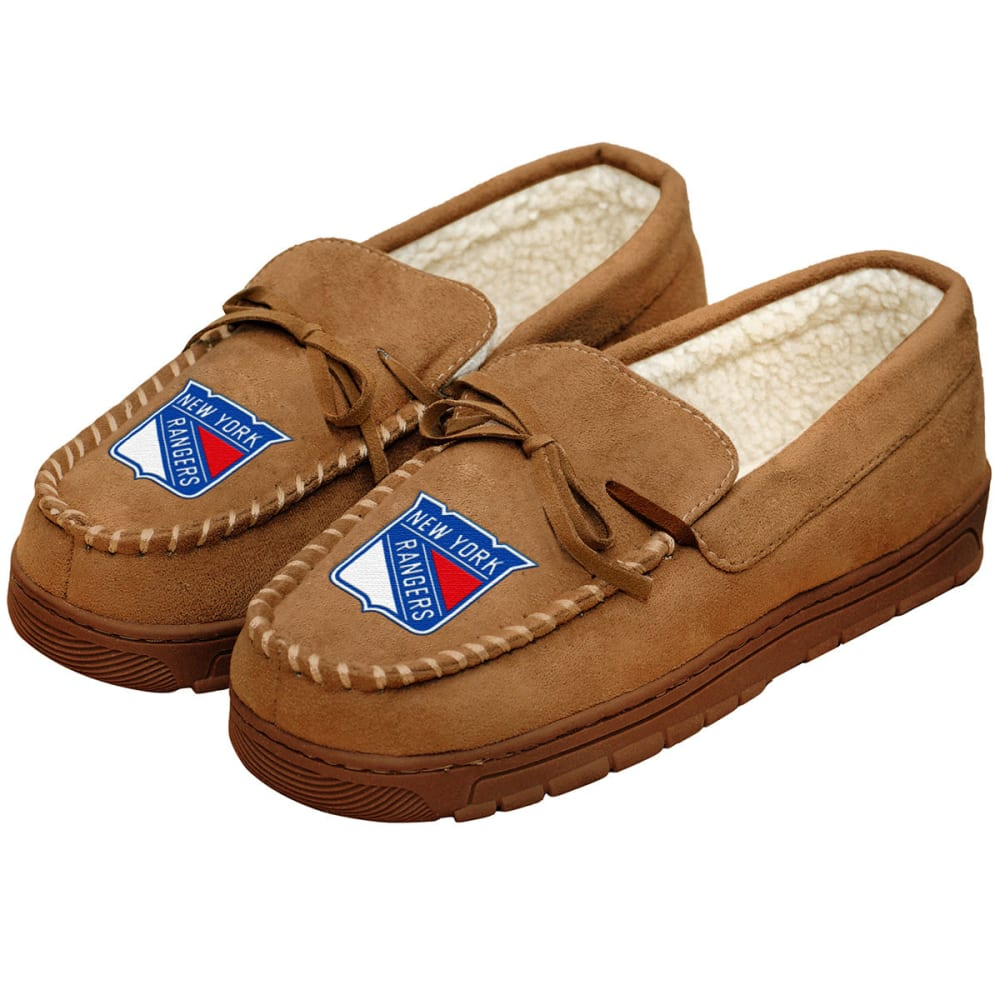 NEW YORK RANGERS Men's Moccasin Slippers - BEIGE