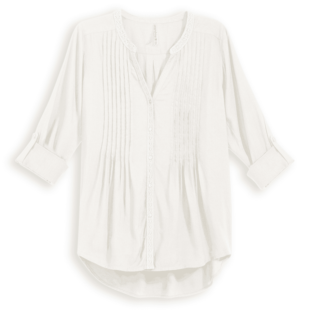 OVERDRIVE Women's Pintuck Blouse With Crochet Trim - IVORY