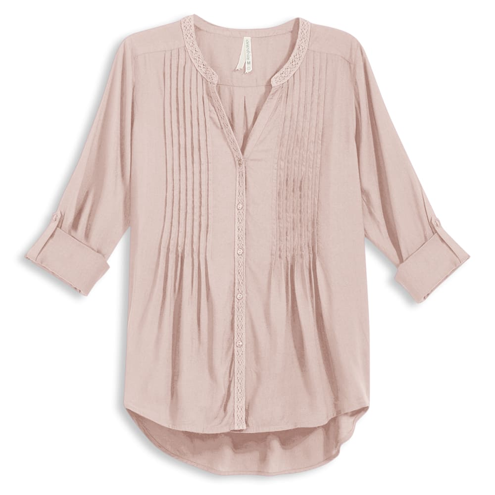 OVERDRIVE Women's Pintuck Blouse With Crochet Trim - BLUSH