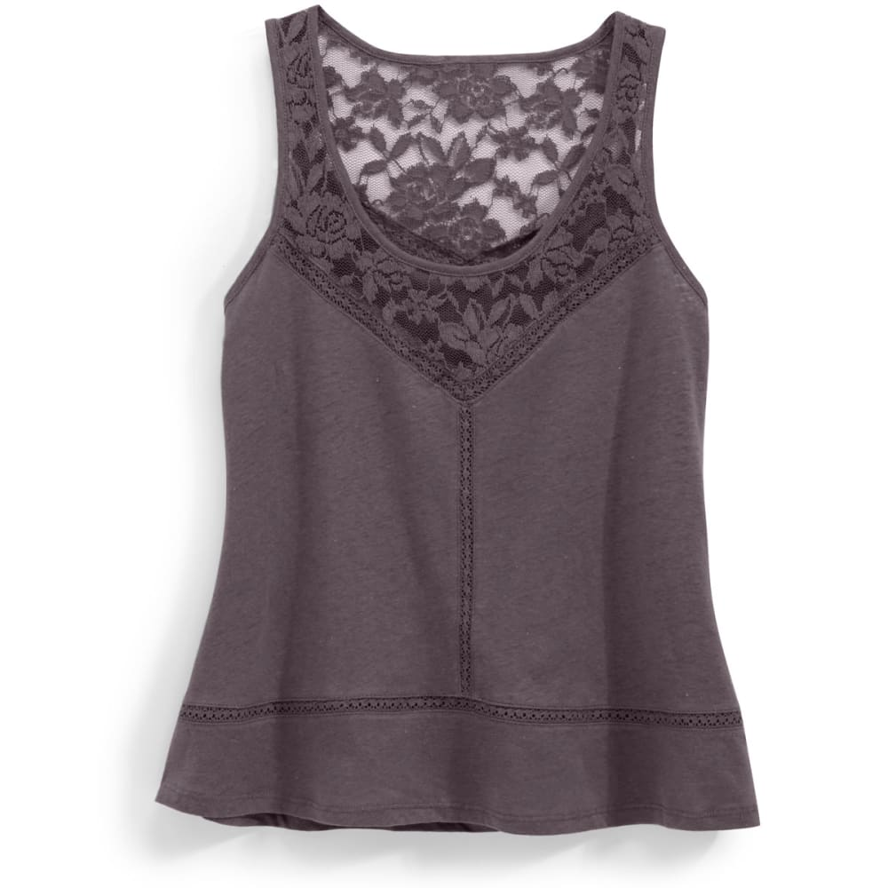 RUSH Juniors' Lace Neck Tank Top - CHARCOAL