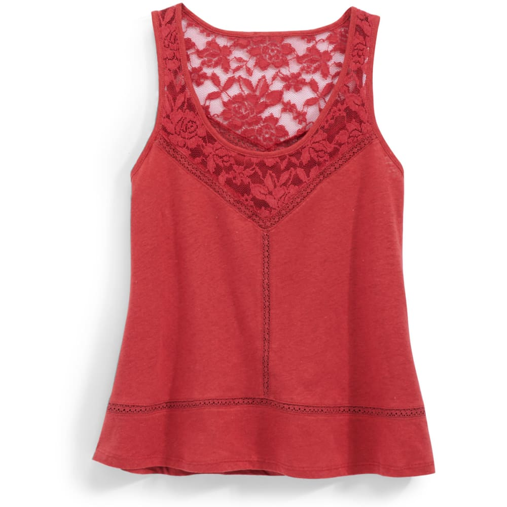 RUSH Juniors' Lace Neck Tank Top - RUST