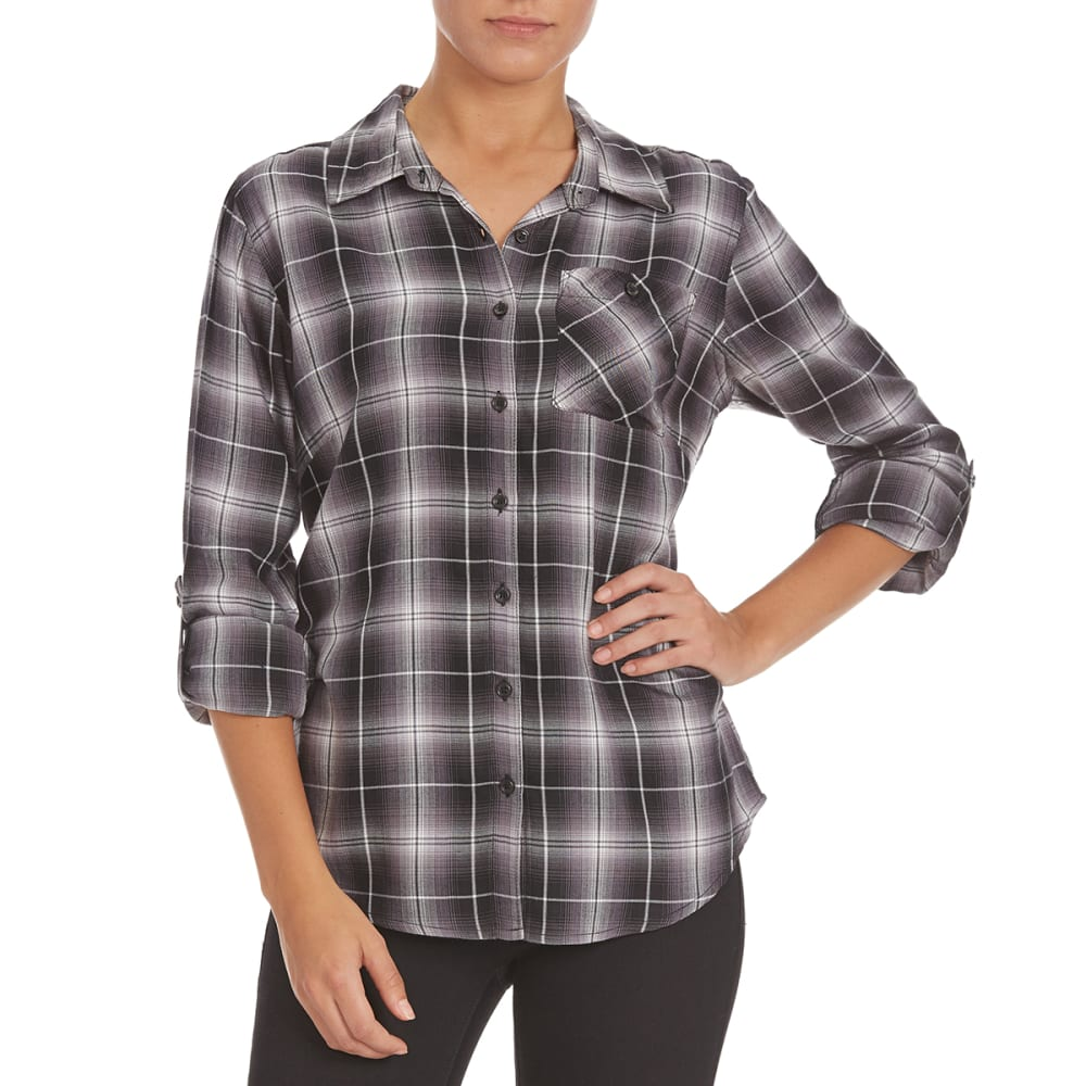 GLOBAL CLOTHING Overdrive Women's Plaid Shirt - BLACK