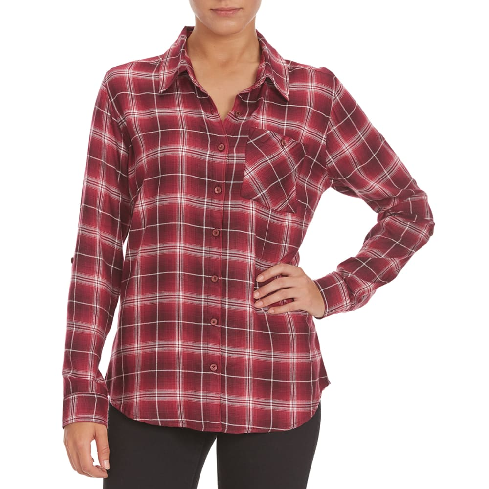 GLOBAL CLOTHING Overdrive Women's Plaid Shirt - BURGUNDY
