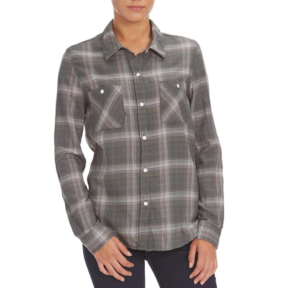 STITCH + STAR Women's Plaid Boyfriend Shirt - P234T MILITARY OLIVE