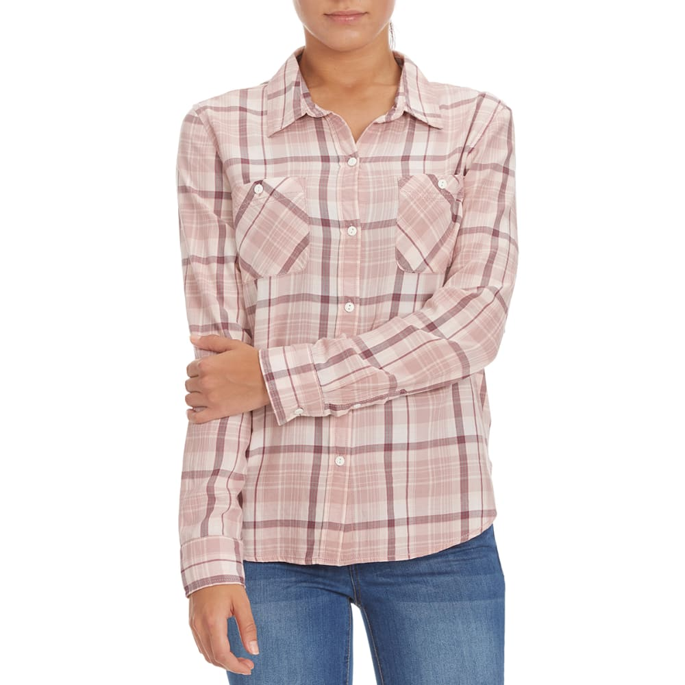 STITCH + STAR Women's Plaid Boyfriend Shirt - P234A PINK