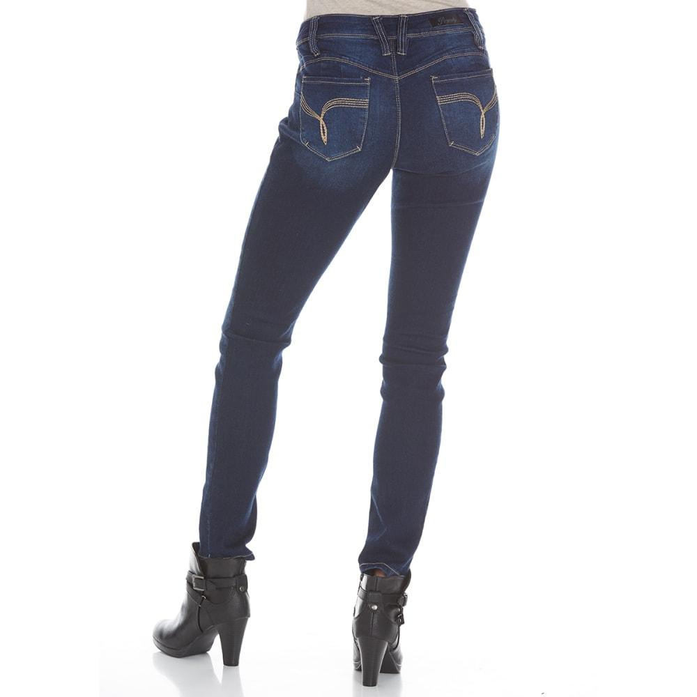 ROYALTY Women's Wanna Betta Butt Rayon Skinny Jeans - S02 DARK WASH