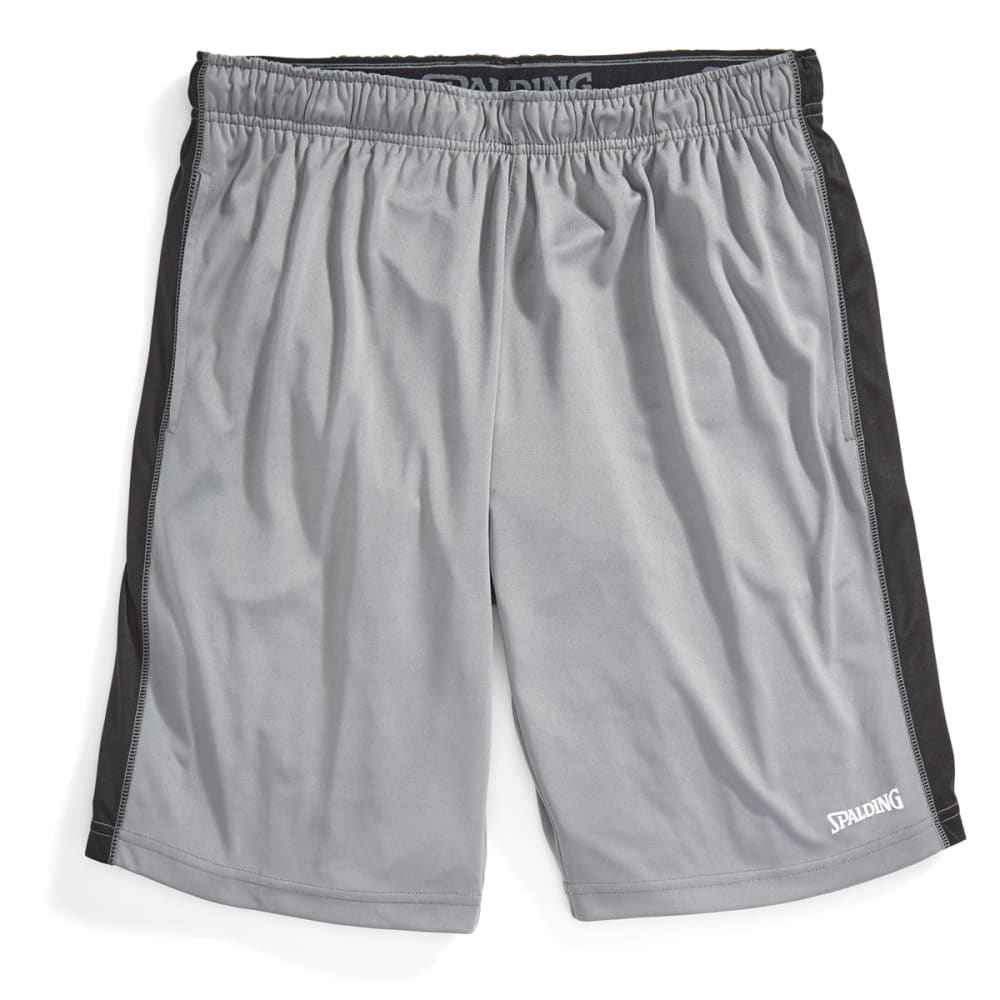SPALDING Men's Training Shorts - CONCRETE/BLACK-076