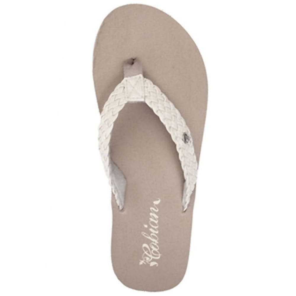 COBIAN Women's Braided Bounce Sandals, Cream 6