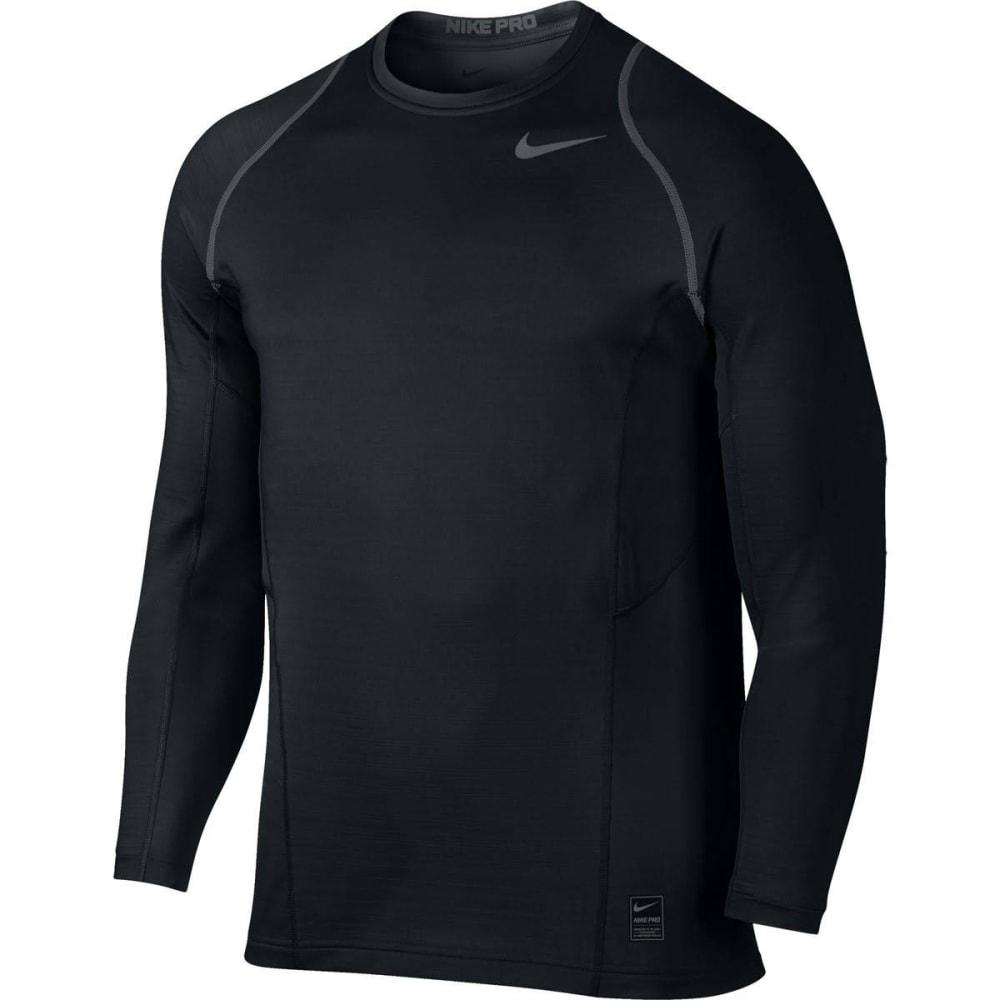 NIKE Men's Pro Hyperwarm Fitted Long-Sleeve Training Top - BLACK/WHITE-010
