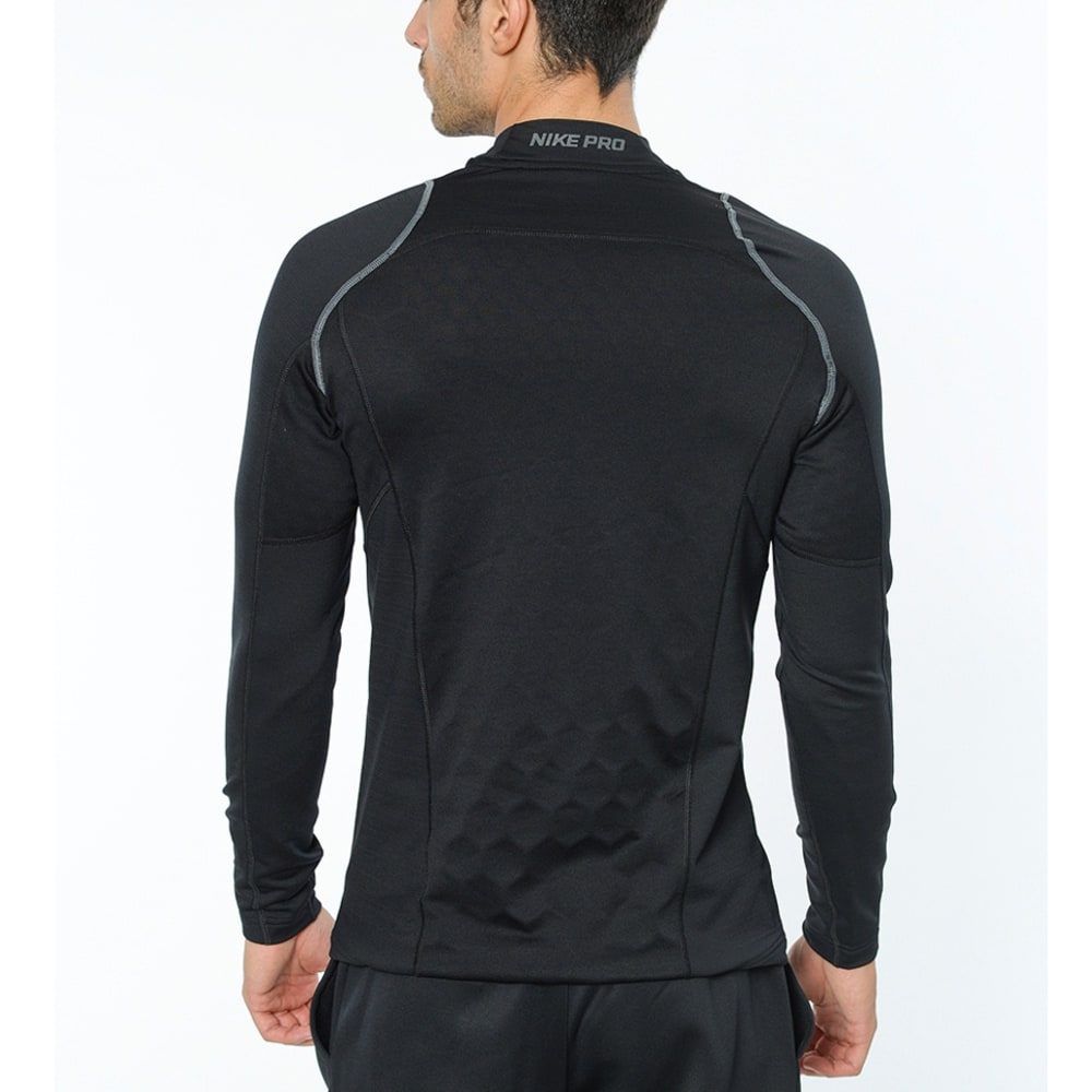NIKE Men's Pro Hyperwarm Fitted Mock Long-Sleeve Training Top - BLACK/WHITE-010