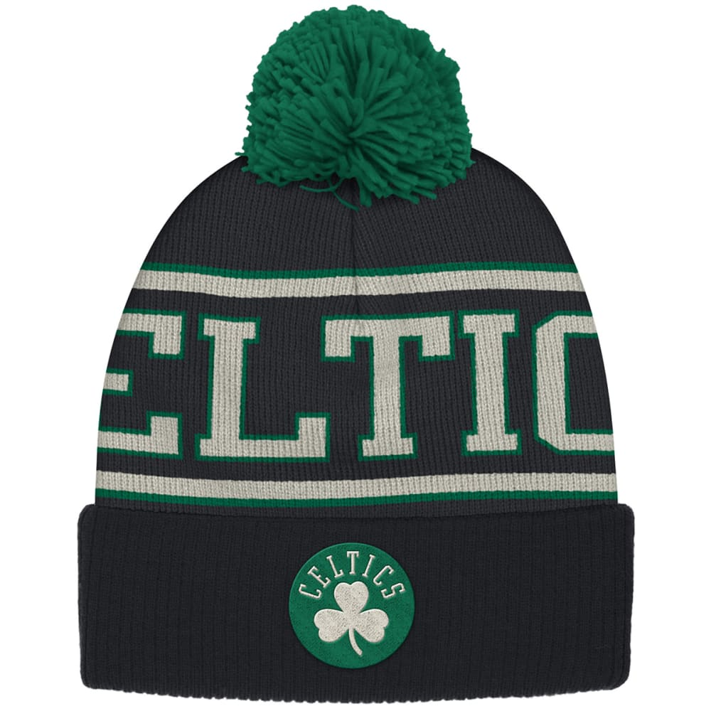 ADIDAS BOSTON CELTICS Men's Cuffed Pom Beanie - BLACK