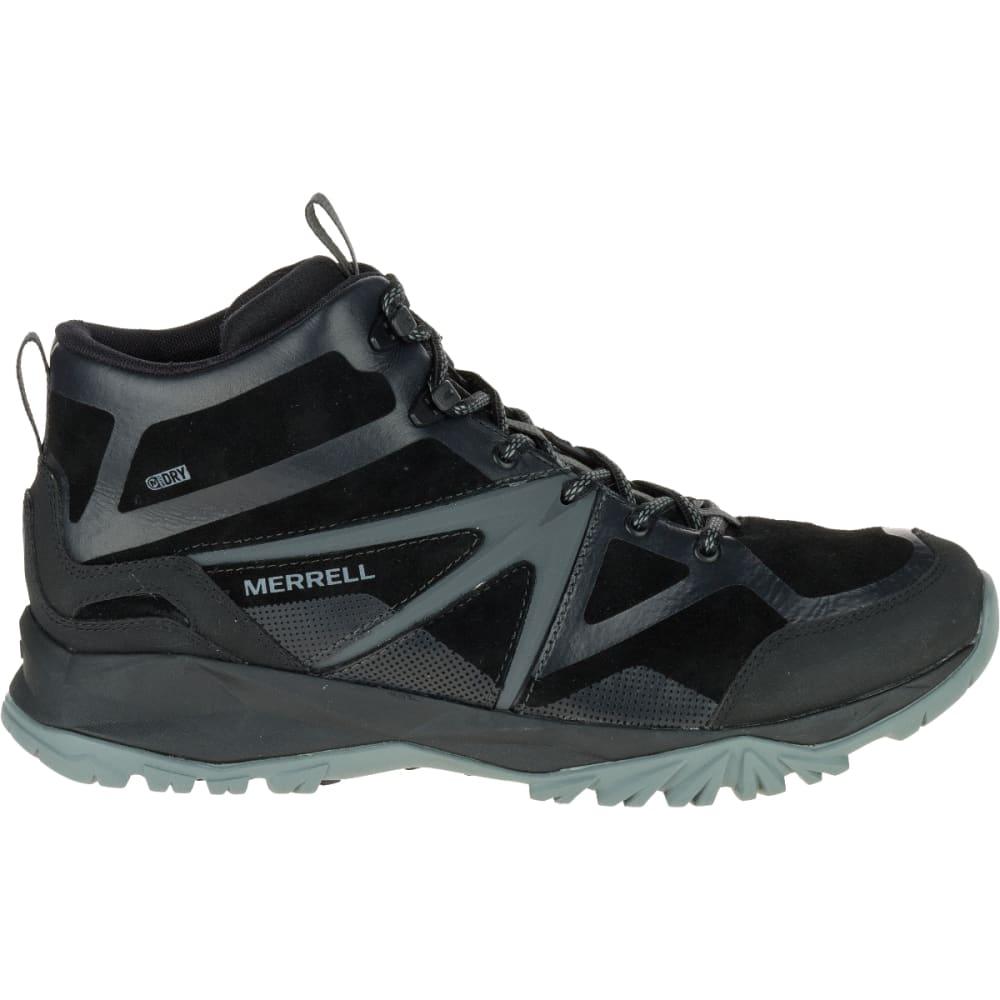 MERRELL Men's Capra Bolt Leather Mid Waterproof Hiking Shoes, Black - BLACK
