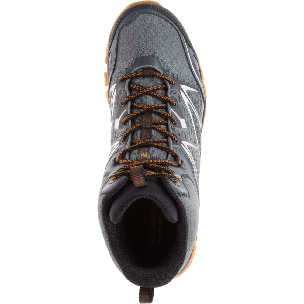 MERRELL Men's Capra Bolt Mid Waterproof Hiking Shoes, Grey/Orange - GREY/ORANGE