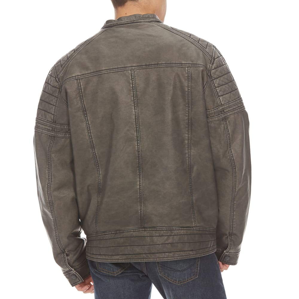 DISTORION Guys' Moto Pleather Zippered Jacket - GREY