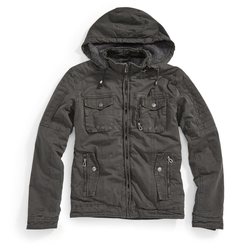DISTORTION Guys' Twill Long Jacket - DARK CHARCOAL