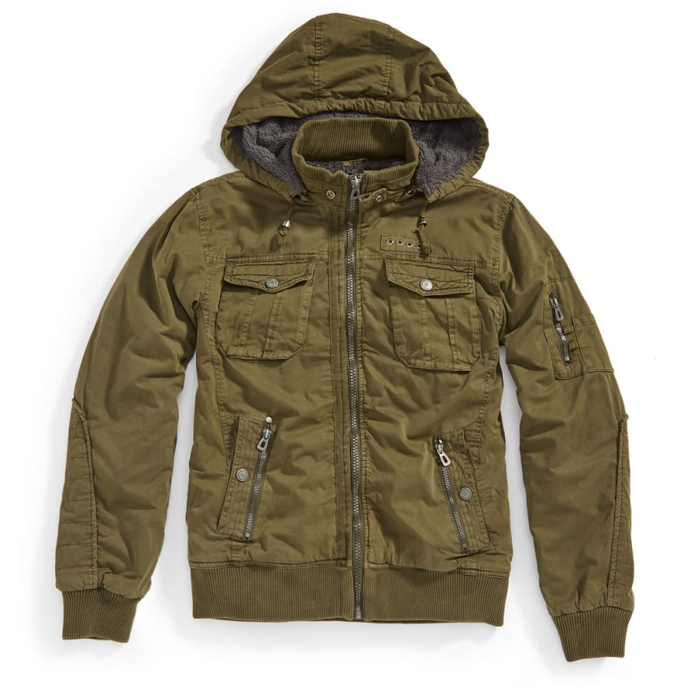DISTORTION Guys' Twill Long Jacket - FOREST GREEN
