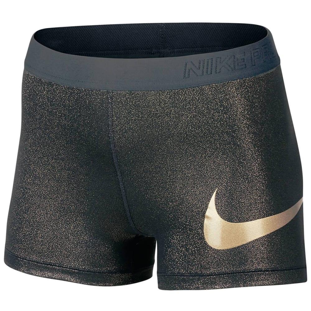 NIKE Women's 3 in. Pro Training Shorts - BLACK/GOLD - 010