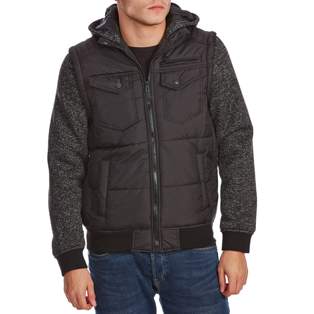 DISTORTION Guys' Double Pocket Long Sleeve Fleece Vest - BLACK