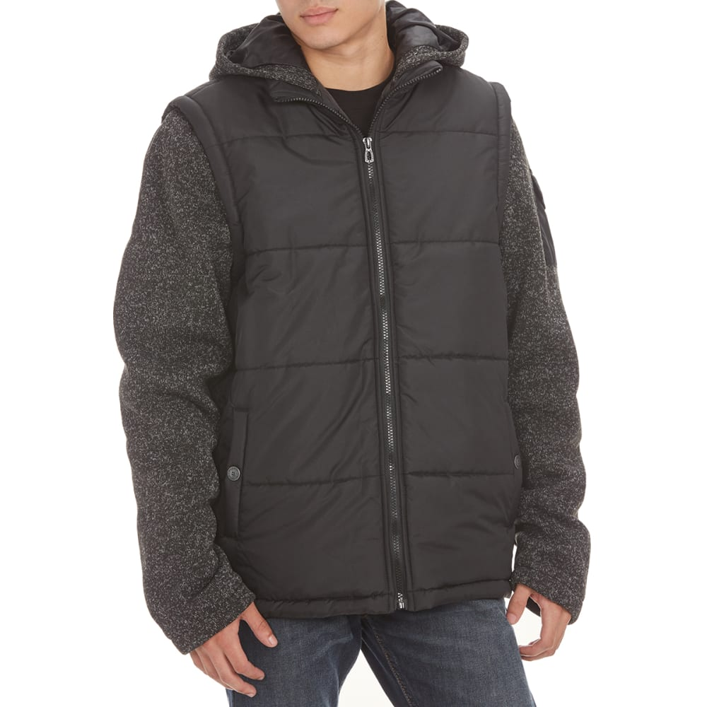 DISTORTION Guys' Long Sleeve Fleece Vest Jacket - BLACK