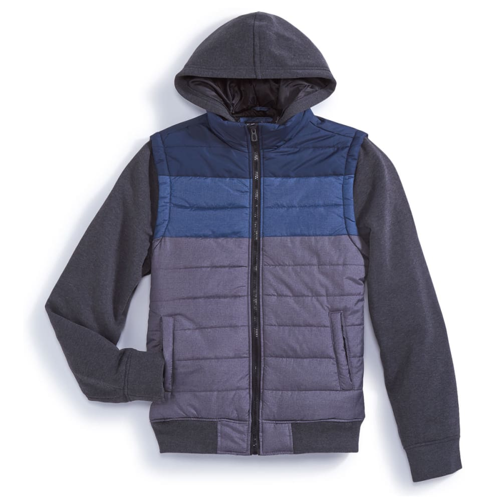 DISTORTION Guys' Color-Blocked Vest and Fleece Combination - NAVY