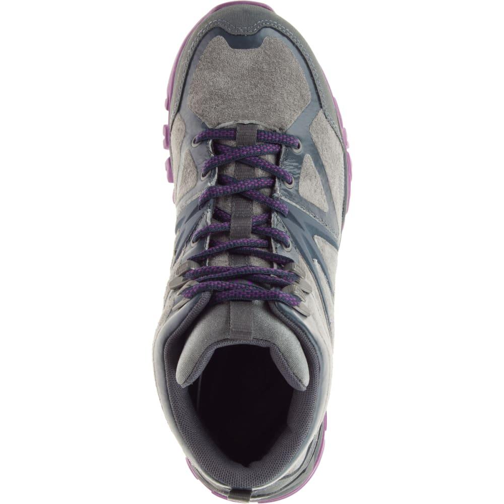 MERRELL Women's Capra Bolt Leather Waterproof Mid, Grey/Purple - GREY/PURPLE