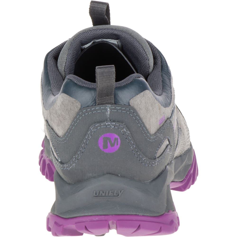 MERRELL Women's Capra Bolt Leather Waterproof Shoe, Grey/Purple - GREY/PURPLE