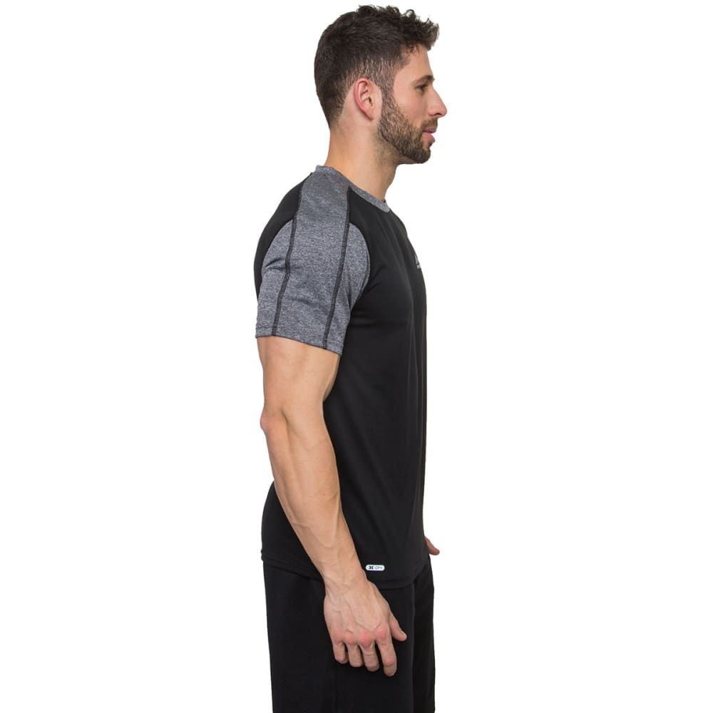 RBX Men's Contrast Mesh Fitted Short-Sleeve Tee - BLACK