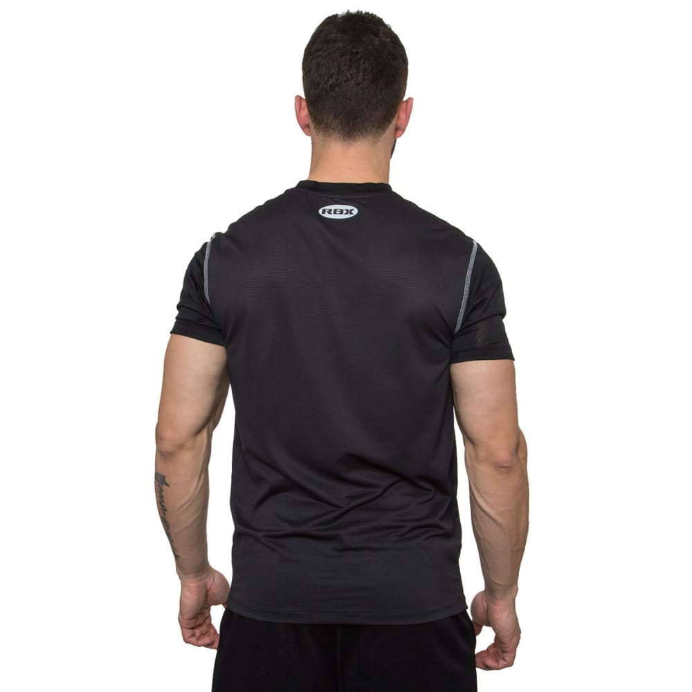 RBX Men's Printed Novelty Mesh Fitted Short-Sleeve Tee - BLACK/GRAPHITE-BLK
