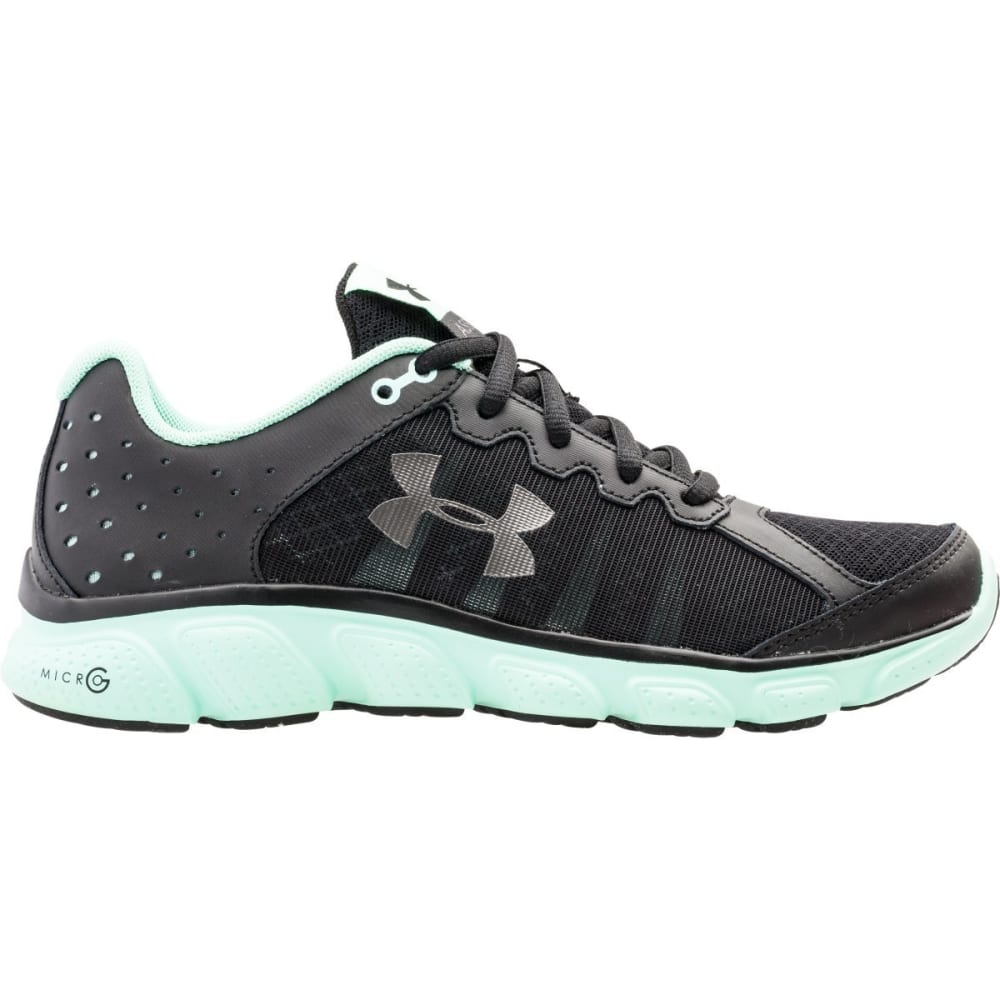 UNDER ARMOUR Women's Micro G Assert 6 Running Shoes - BLK/MINT