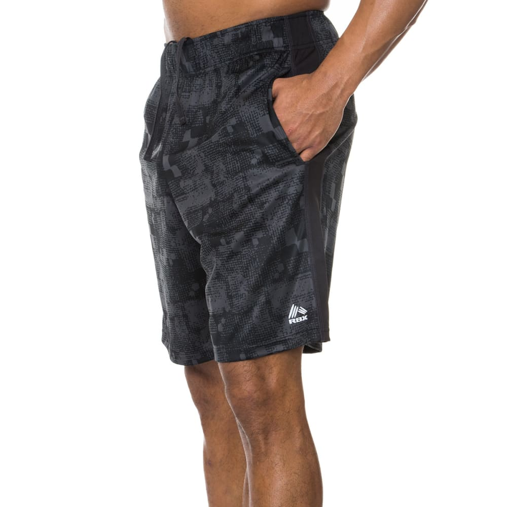 RBX Men's 9 in. Poly Interlock Printed Shorts - BLACK/GRAPHITE-BLK
