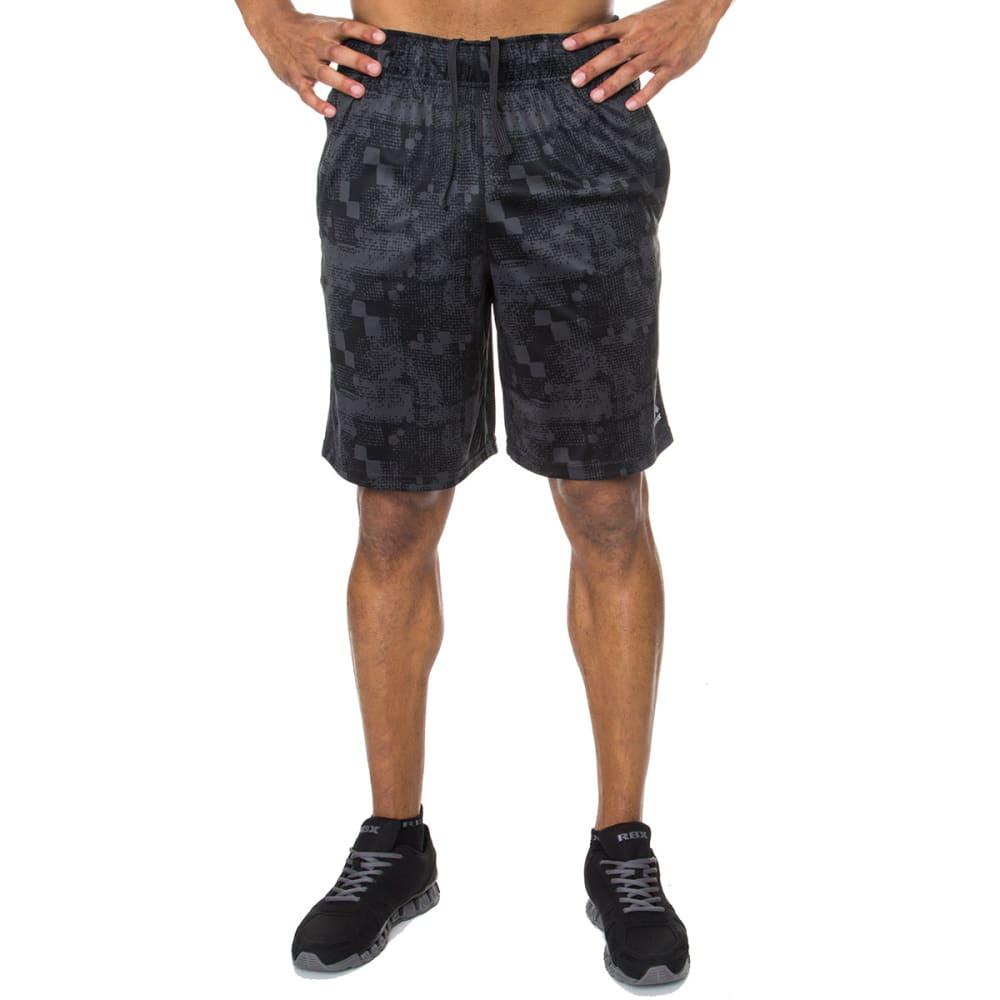 RBX Men's 9 in. Poly Interlock Printed Shorts - BLACK/GRAPHITE-BLK