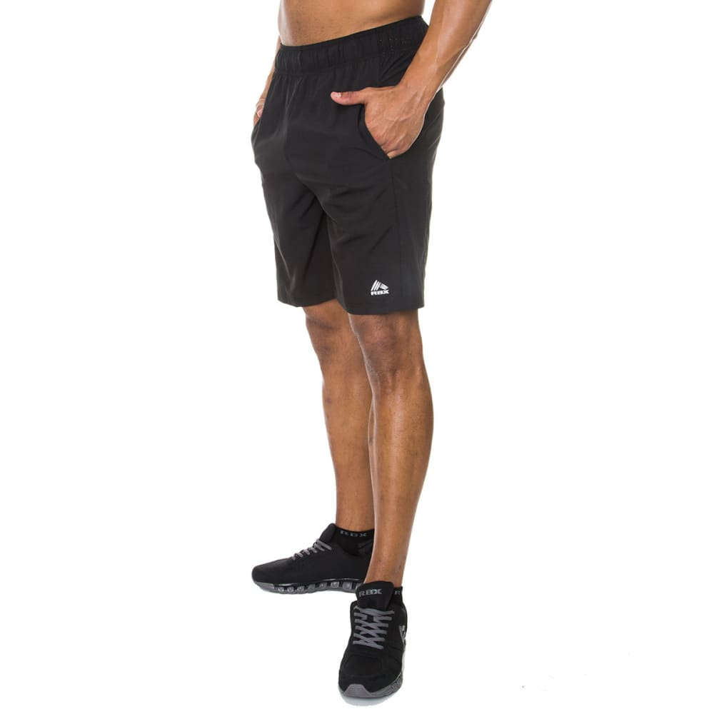 RBX Men's Woven Perforated Insert Shorts, 9 in. - BLACK-BLK