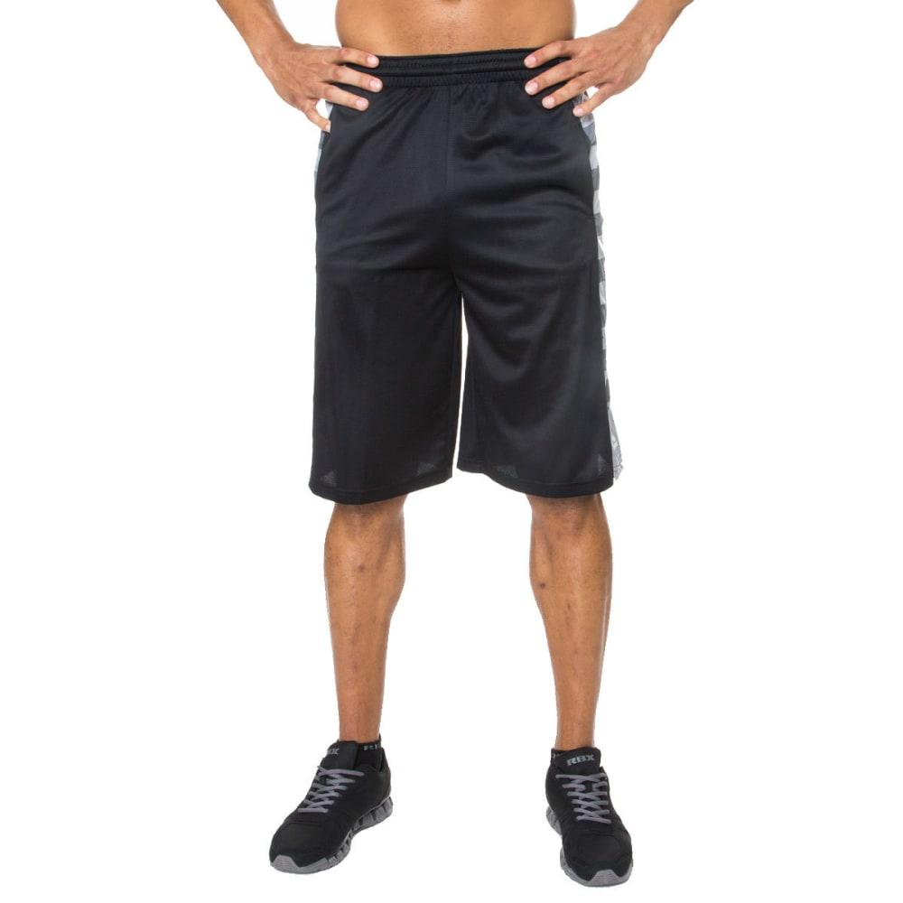 RBX Men's 12 in. Poly Novelty Mesh Basketball Shorts - BLACK-BLK