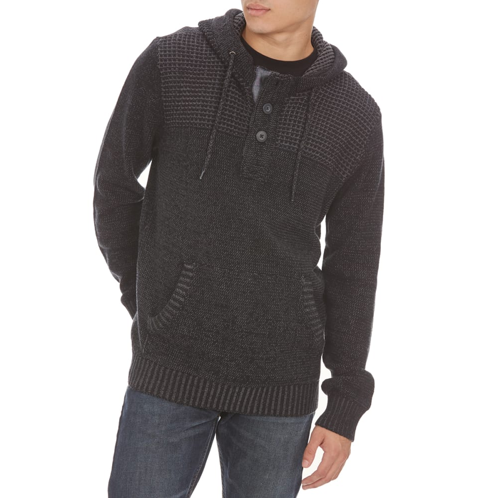 RETROFIT Guys' Henley Hooded Pullover - BLACK