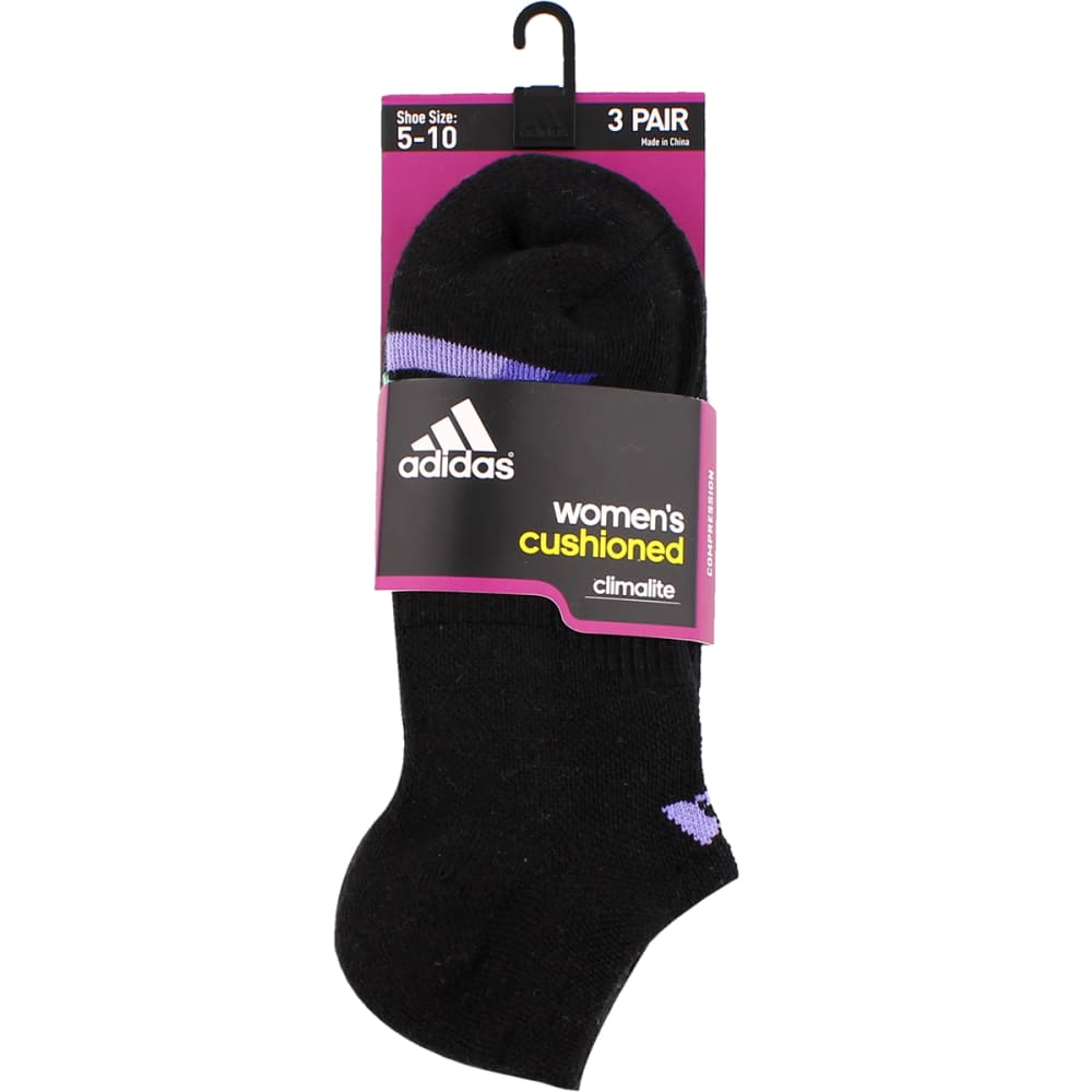 ADIDAS Women's Cushion No Show Socks, 3-Pack - BLACK