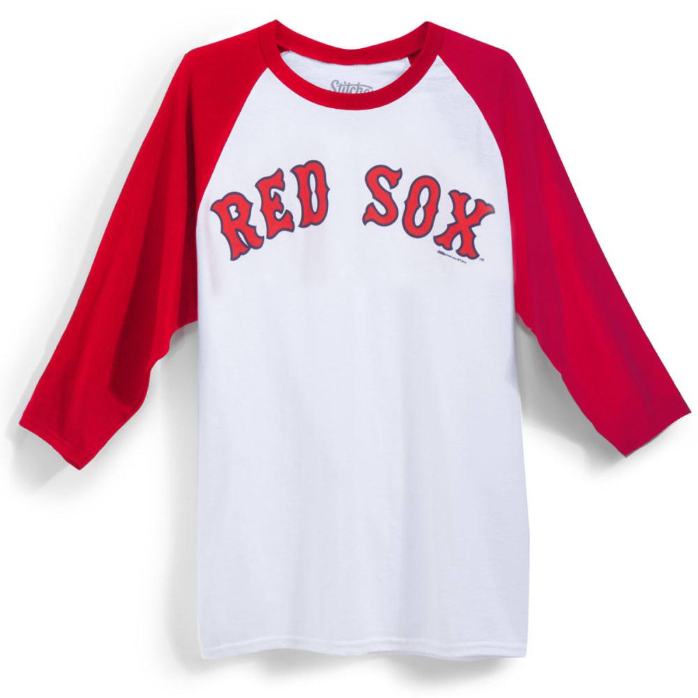 BOSTON RED SOX Men's Logo ¾ Raglan Tee - WHT/RED
