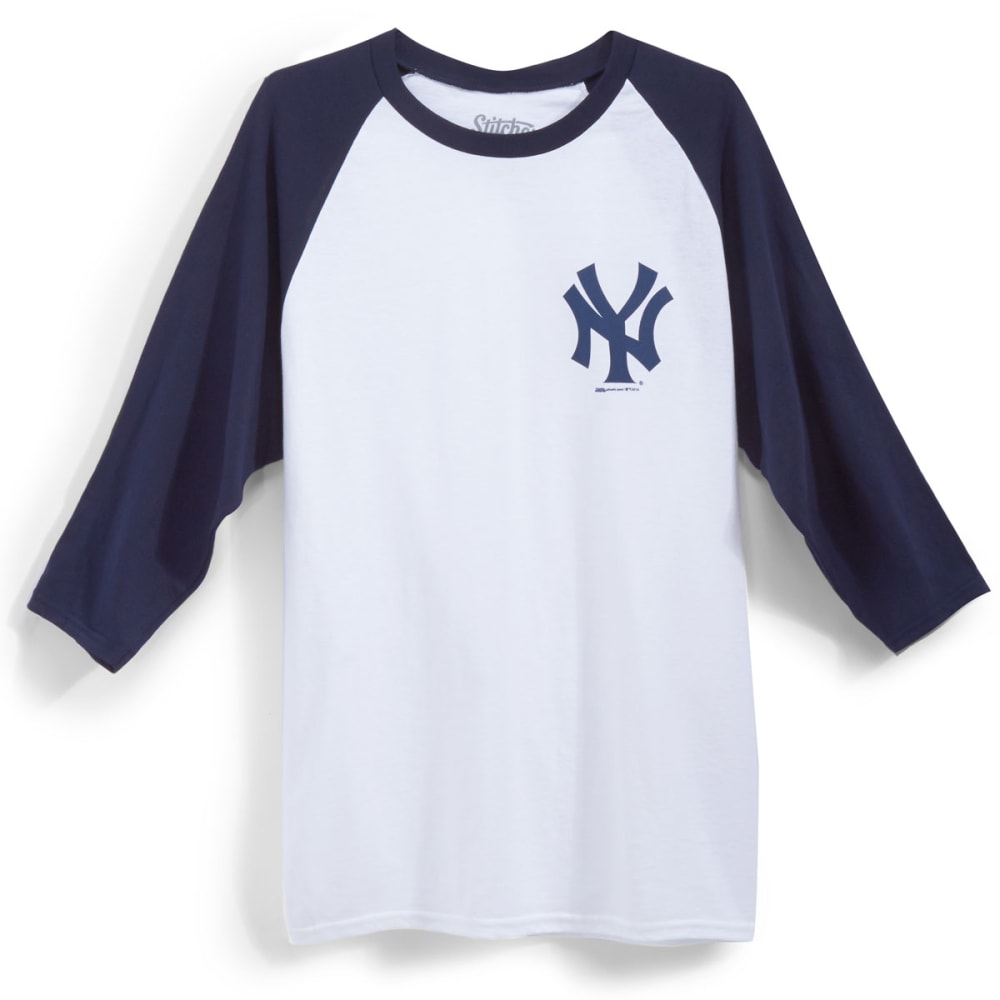 NEW YORK YANKEES Men's Logo ¾ Raglan Tee - WHT/NVY