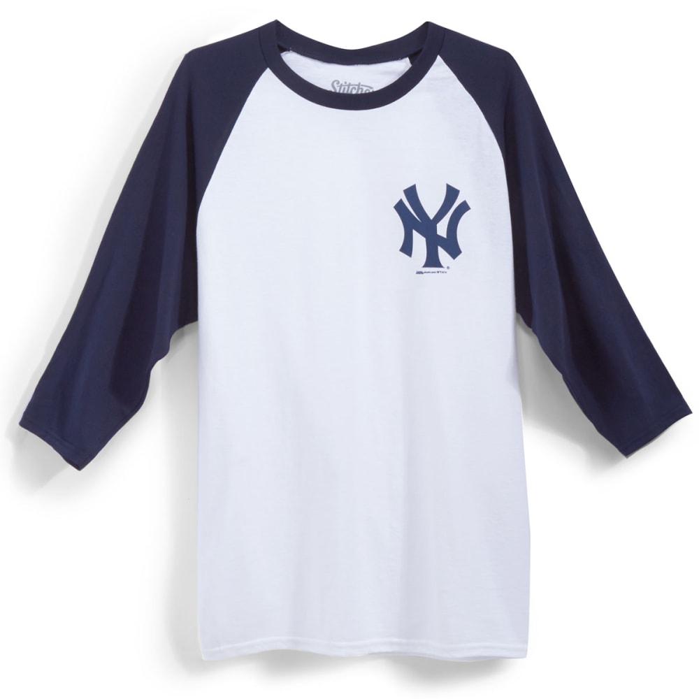 NEW YORK YANKEES Men's Logo ¾ Raglan Tee - WHT/NVY